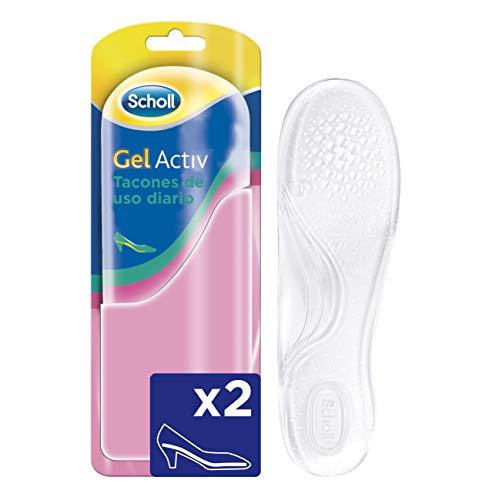 Scholl Plantillas, óptimas para zapatos de tacón diario con tecnología Gel Activ, comodidad todo el día, 2 plantillas, Transparente, Desde Talla 35 Hasta 40.5 (3020799)