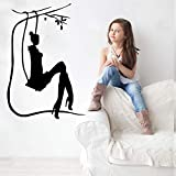 YuanMinglu Swing on The Girl Lounge Silueta Etiqueta de la Pared Arte Mural Dormitorio decoración del hogar Dulce Calidad Papel Pintado calcomanía 57x37 cm
