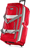 Olympia 8 Pocket Rolling Duffel Bag, Red, 22 inch