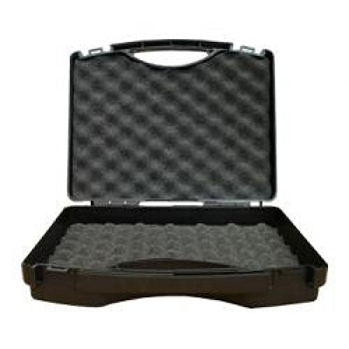 Maletín Tekno de plástico negro con inserto interior de espuma, color negro/gris plateado
