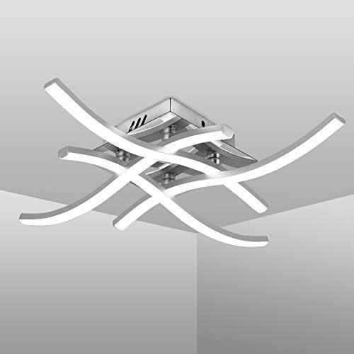 Plafoniera LED Soffitto, Lampadario Soggiorno dal Design ondul, Luce Bianca Neutra 4000K, LED Integrati 24W 4x 380Lm, Lampada da Soffitto Moderni per Salotto, Cucina o Camera da Letto (Luce Bianca)