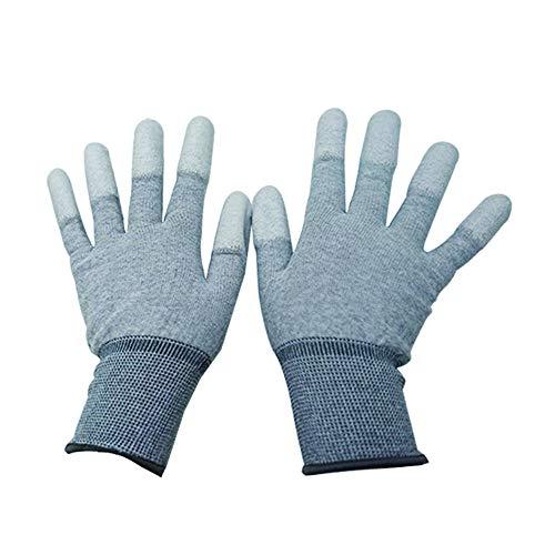 セーフラン(SAFERUN) 静電気対策用手袋(手のひら部PUコーティング) 1双 白 炭素繊維 Lサイズ 制電 グリップ...