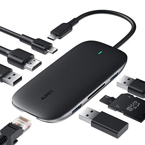 AUKEY Hub USB C 8 in 1 USB Tipo C Adattatore Porta...
