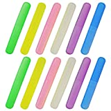 Plastic Toothbrush Case -Bskifnn 12pcs Six Colors Portable Dust-proof Toothbrush Cases Toothbrushes Holder for Daily and Travel Use