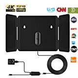 1byone TV Antenna 4K 1080P Foldable HD Digital Indoor Support All Older TV Freeview VHF UHF Local Channels with Powerful Signal Amplifier - 16.5ft Coax Cable/AC Adapter