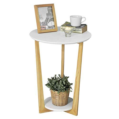SoBuy® FBT52-WN,Tavolino basso da divano, Tavolino da caffè, con 2 piani,rotondo,bianco,IT