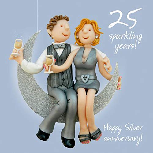 Happy 25th Silver Anniversary Greeting Card One Lump or Two Holy Mackerel Cards