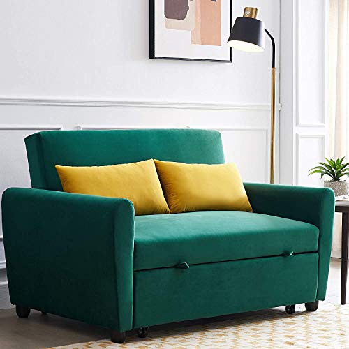 COODENKEY Convertible Sleeper Sofa Bed Velvet Fabric Pull Out Couch with 2 Pillows Adjustable Backrest for Living Room Small Spaces, Dark Green