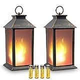 zkee 13' Vintage Style Decorative Lantern,Flickering Flame Effect LED Tabletop Lantern(Black,4 Hours Timer Batteries Included) Indoor/Outdoor Hanging Lantern,Decorative Candle Lantern (Set of 2)