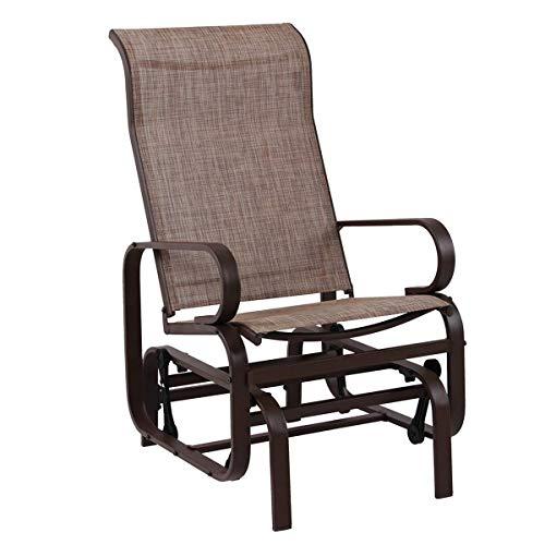 PHI VILLA Schwingstuhl mit Armlehnen Schaukelstuhl Outdoor Gartenmöbel verstellbar Drehstuhl für Lounge Textilene Masche und Stahlrahmen Relaxstuhl Schwingfunktion