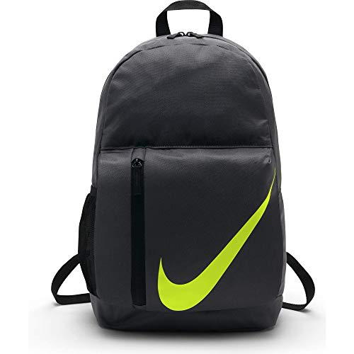 Nike Kids' Elemental Backpack, Kids' Backpack with Comfort and Secure Storage, Dark Grey/Black/Volt