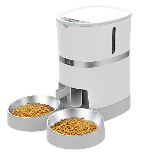 WellToBe Futterautomat für 2 Haustiere Katze und Hund, Automatischer...