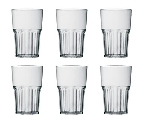 Garnet Vaso transparente reutilizable 'Granity 40 Set de 6 piezas – Lavable en lavavajillas – 40 Bordo/ 33 – 35 cl a servicio – Fabricado en Italia – Plástico 0,4 litros