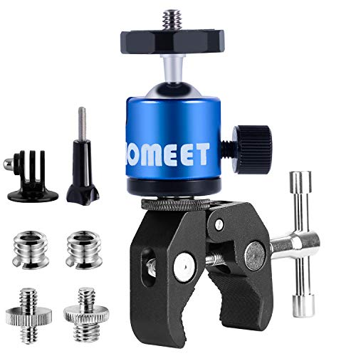 Homeet Super Morsetto Clamp con Teste Treppiedi Supporto Pinza Fotocamera Granchio Clip Rotazione a 360°con Filettature da 1/4 'e 3/8' per Monitor / Flash LED / Telecamera / Microfono / GPS【Blu Teste】