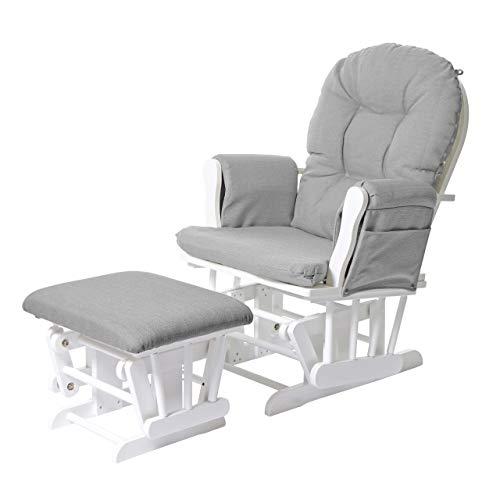 Mendler Relaxsessel HWC-C76, Schaukelstuhl Sessel Schwingstuhl mit Hocker, Stoff/Textil ~ hellgrau, Gestell weiß