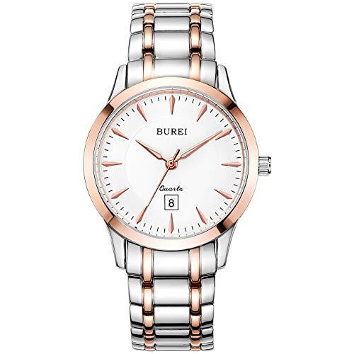 BUREI Damen Uhren Edelstahl Wasserdicht Armbanduhr Damen Uhr Rosegold Minimalistisch Mode Kleid Elegant Beiläufig Designer Quarzuhr Business Elengate für Damen