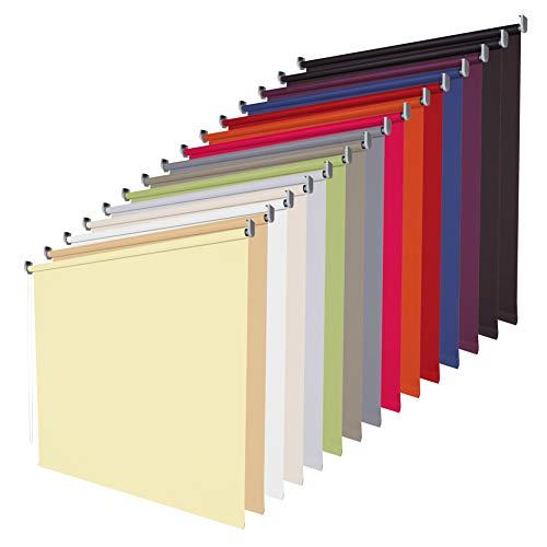 etusimo Verdunklungsrollo Seitenzugrollo Fenster Rollo - 14 Farben - Breite 62 bis 202 cm - Bedienung Kettenzug - verdunkelnd lichtundurchlässig - Montage Wand Decke (Größe 62 x 180 cm, Farbe Cream)