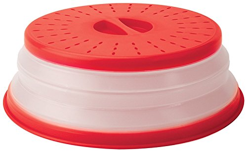 Tovolo Vented Collapsible Microwave Food Cover With Easy Grip Handle, Dishwasher-Safe, BPA-Free Silicone & Plastic, 10.5' Round, Red