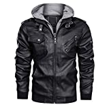 CRYSULLY Men's Stand Collar PU Motorcycle Jacket Vintage Leather Racer Coat Outwear Black