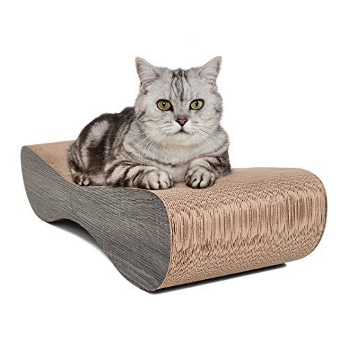 CanadianCat Company ® | | Kratzkarton Satellite | 76 x 24 x 15 cm | Kratzmöbel, Kratzbrett | XL Kratzpappe +Katzenminze | dunkelgraue Holzoptik für Katzen