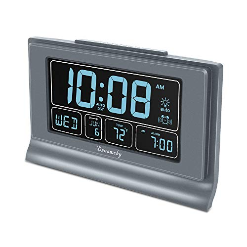 DreamSky Auto Set Digital Alarm Clock with USB Charging Port, 6.6 Inches Large Screen with Time/Date/Temperature Display, Full Range Brightness Dimmer, Auto DST Setting, Snooze. (Gray)