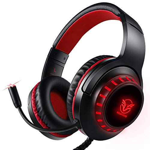 Pacrate Gaming Headset for PS4 Xbox One PC with Noise Cancelling Microphone Stereo Surround Sound Headphone with LED Light Intense Bass for Computer Laptop Mac (Black Red)