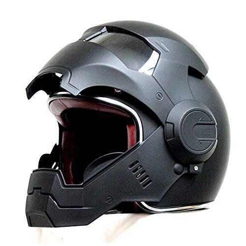MENUDOWN Motorrad Helme,Motocrosshelme Full Face Touring Motorrad Harley Vintage Helm Klapphelme Rennhelm Mit Motorradhandschuhen Motorhelm Iron Man - Persönlichkeit - Cool,Matteblack-L:(58-59cm)