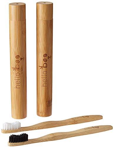 Juego de cepillos de dientes de bambú con estuche de viaje | Pack de...