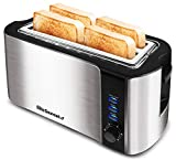 Elite Gourmet ECT-3100 Maxi-Matic 4-Slice Long Toaster 6 Toasting Levels & Extra Wide Slots for Bagels, Waffles, Specialty Breads, Puff Pastry, Snacks, Stainless Steel