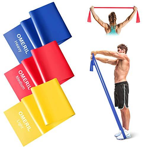 OMERIL Fasce di Resistenza (3 Pezzi), 2m Bande Fitness Elastiche con 3 Livelli di Resistenza, Fascia Elastica Esercizi Ideale per Allenamento di Forza e Flessibilit, Yoga, Pilates, Uomo e Donna