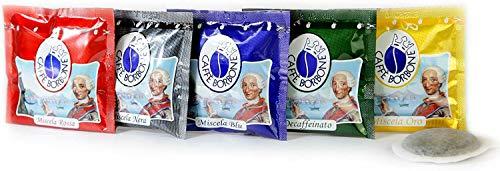 150 Caffè Borbone (PACCO DEGUSTAZIONE MISCELA ROSSA-BLU-NERA-ORO-DEK) in omaggio 15 cialde Gusto e Caffè