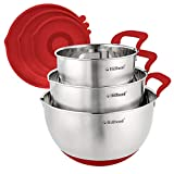Hillbond Mixing Bowls Set: Stainless Steel Nesting Bowls with Pour Spout, Handle and Lid for Cooking Baking Set of 3 - 1.5QT, 3QT, 5QT (Red)