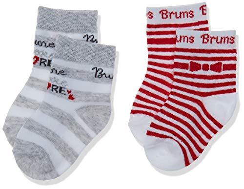 Brums Calzine Corte Conf.2 Pz.Ct, Rosso (Fragola 03 732), Neonato (Taglia Unica: 000) Bimba
