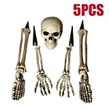 ALLADINBOX Halloween Creepy Graveyard Dcor Groundbreaker Realistic Skeleton Bones and Skull(Include Skull, Hands, Legs, arms and feet with Lawn Stakes) for Outdoor Party, Life Size