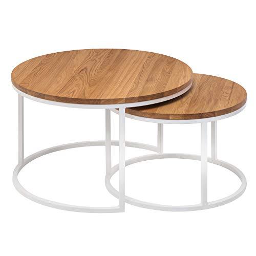 Hochwertiger Couchtisch aus Eiche & Metall - Satztisch aus Massiv Holz im 2er Set   Wohnzimmertisch aus Echtholz   Moderner Massivholz Beistelltisch - Rund & Kompakt   50 cm hoch   Natur braun