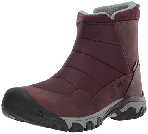 KEEN Women's Hoodoo III Low Zip Mid Calf Boot, Peppercorn/Winetasting, 9 M US