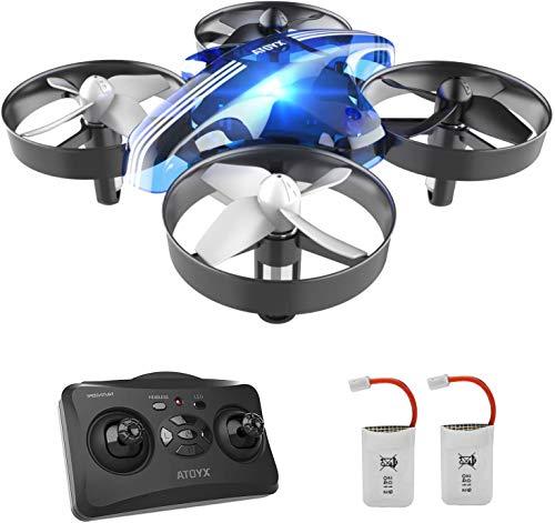 Mini Drone per Bambini RC Giocattolo Quadcopter Regalo per Principianti AT-66 Materiale Plastico ABS di Alta qualità , Anticaduta(Blu)