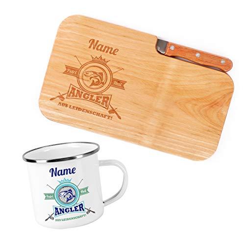Herz & Heim® Frühstück Set für Angler mit Schneidebrettchen inklusive Messer und Emailletasse -...