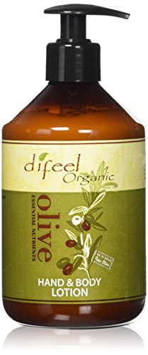 Difeel Olive Oil Hand and Body Lotion - Vitamins, Minerals, Essential Nutrients and Antioxidant Enriched Formula, Deeply Moisturizes Skin Without an Oily Residue 16.9 Ounce