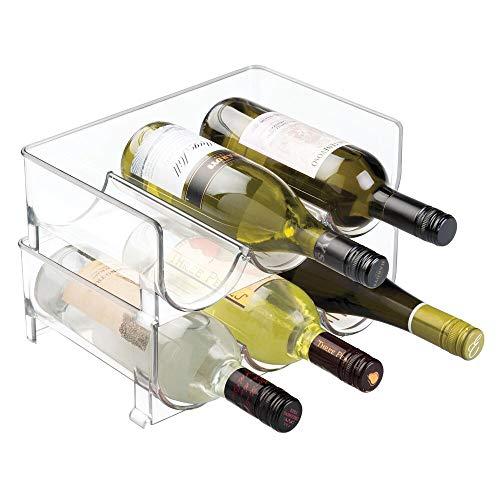 mDesign Set da 2 bottigliere Portabottiglie accatastabile per borracce e bottiglie Ideale come...