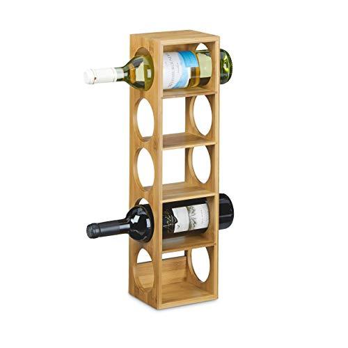 Relaxdays 10020332 Cantinetta Porta Vino/Cantinetta per Vino in Legno, Stile Accattivante, Compatta, Orizzontale, 12 X 14 X 53 cm, Marrone Chiaro, cartone