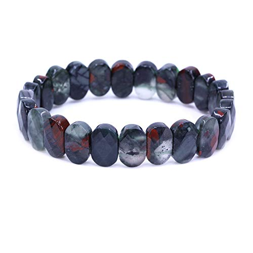 Keleny 14mm African Bloodstone Faceted Oval Beads Crystal...