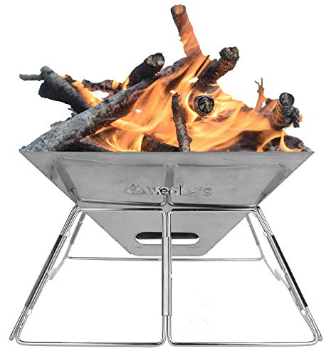 Wealers Portable Fire Pit - 16' Inch Folding Stainless Steel...