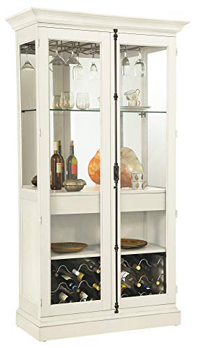 Howard Miller Socialize II Wine & Bar Cabinet 690-042 – Aged Linen Finish Home Decor, Locking Doors, 18 Glass...