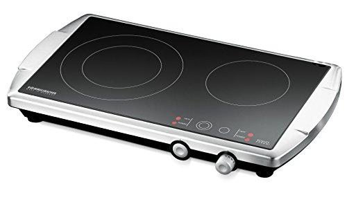 ROMMELSBACHER Doppelkochplatte CT 3400/E – Made in Germany, Schott Ceran Kochfläche, 2 Kochzonen, energiesparend, kurze Aufheizzeit, stufenlose Regelung, versenkbare Knebel, Edelstahl, 3400 Watt