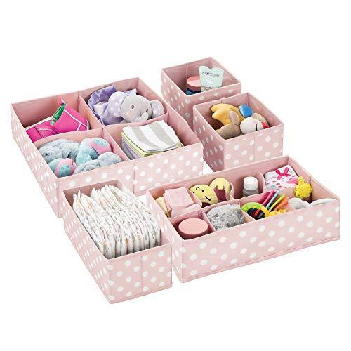 mDesign Set da 5 Scatole portaoggetti e porta giochi con diversi scomparti Scatole per armadi ideali per organizzare gli accessori nelle camerette per bambini rosa chiaro e bianco