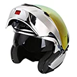 Modular Full Face Motorcycle Helmet DOT Approved by NENKI Motorbike Street Bike Flip up with Dual Visor Sun Shield for Adult, Men and Women NK-815 (L, CHROME Silver)