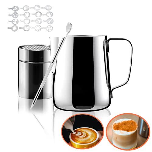 Bricco per latte Inox 350ml, Caff Bricco Latte con Marchio di Misurazione e Shaker in Polvere Inox e Penna Latte Art e 16 stampini caff cappuccino, Adatto per fare il cappuccino