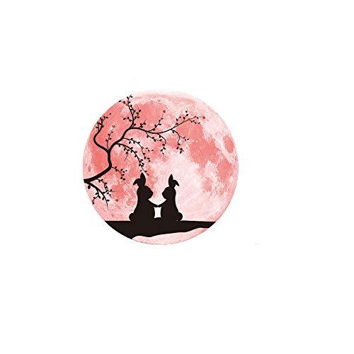 Transwen Wandsticker Leuchtaufkleber, Rosa Liebe Leuchtende Mond Entfernbare Wandaufkleber Startseite Hochzeit Dekoration für Schlafzimmer Wohnzimmer (B)