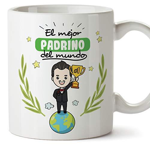 MUGFFINS Taza Padrino - El Mejor Padrino del Mundo - Taza Desayuno/Idea Regalo Original/Día de Pascua para Padrinos. Cerámica 350 mL